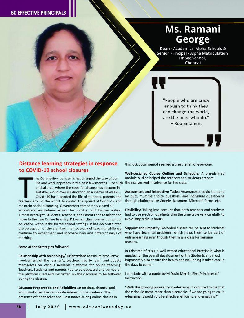 Effective Principals 2020 |Ms. Ramani George, Senior Principal of Alpha Matriculation Hr. Sec. School