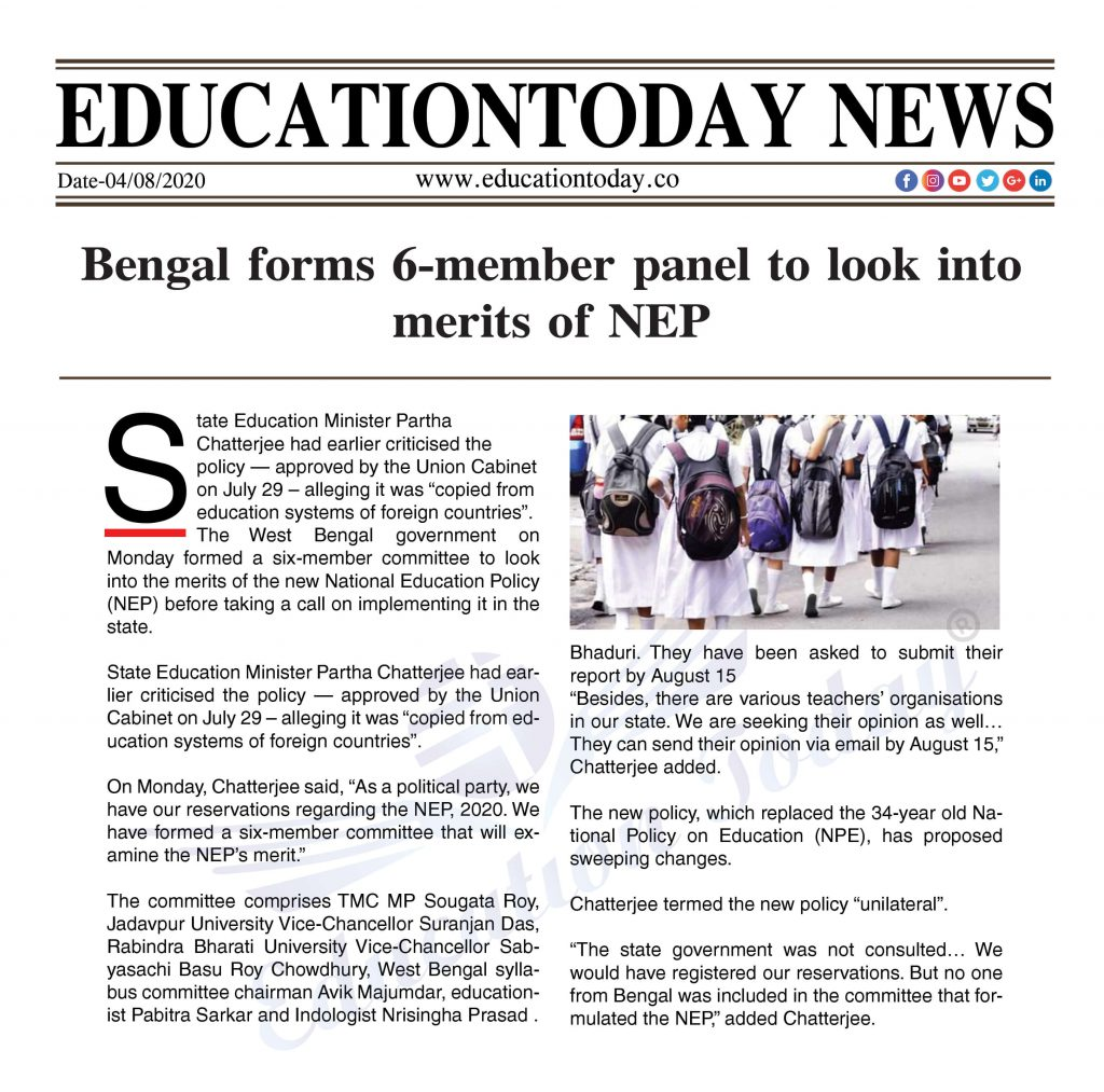 Bengal forms 6-member panel to look into merits of NEP