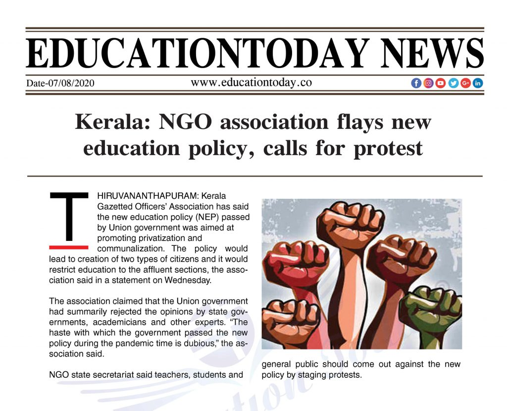 Kerala: NGO association flays new education policy, calls for protest