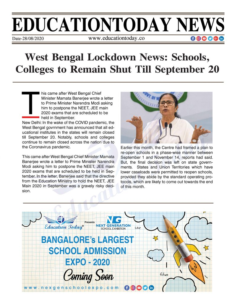 West Bengal Lockdown News: Schools, Colleges to Remain Shut Till September 20
