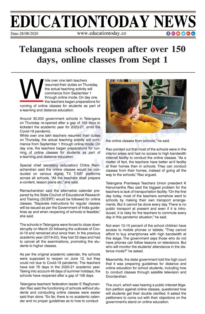 Telangana schools reopen after over 150 days, online classes from Sept 1