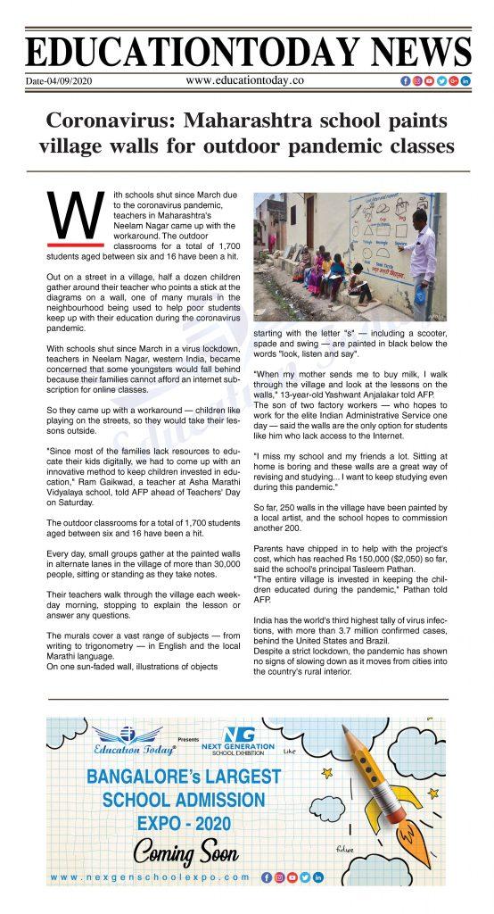 Maharashtra school paints village walls for outdoor pandemic classes
