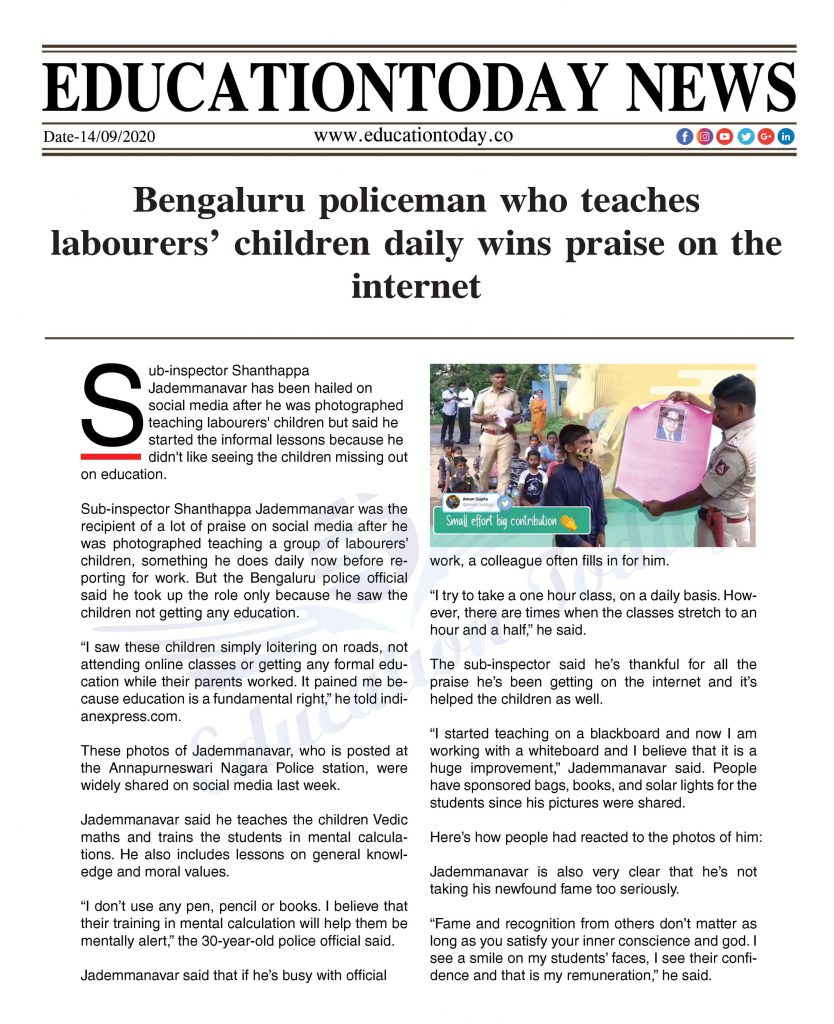 Bengaluru policeman who teaches labourers' children daily wins praise on the internet