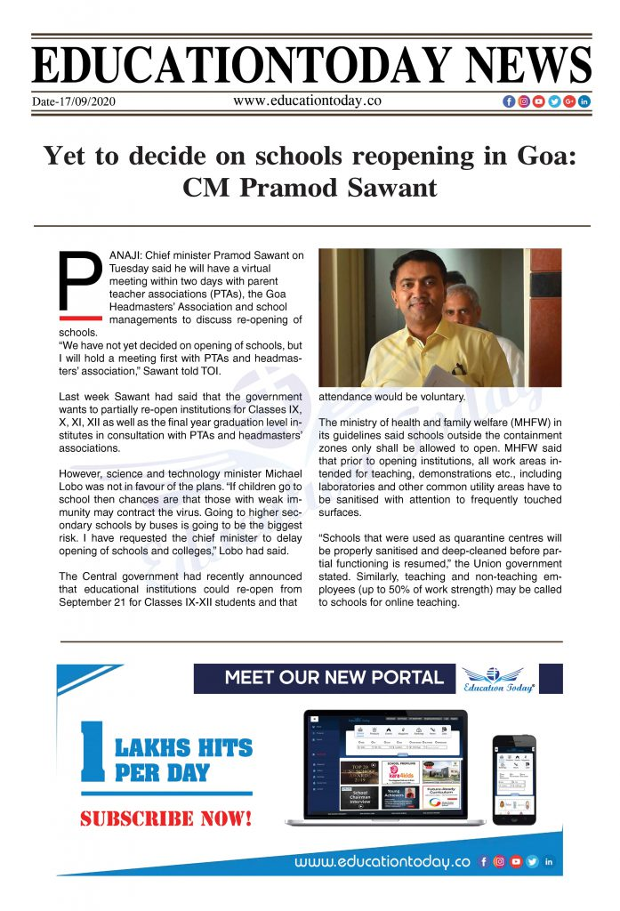 Yet to decide on schools reopening in Goa: CM Pramod Sawant