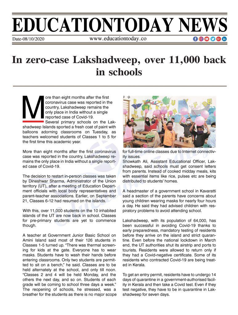 In zero-case Lakshadweep, over 11,000 back in schools