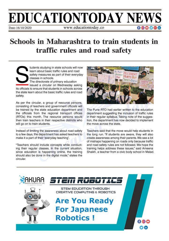 Schools in Maharashtra to train students in traffic rules and road safety