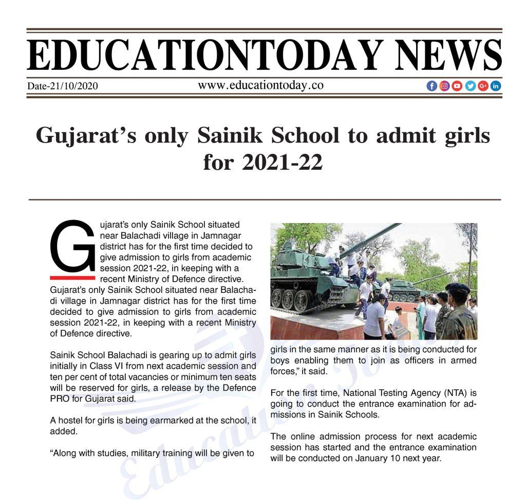 Gujarat's only Sainik School to admit girls for 2021-22