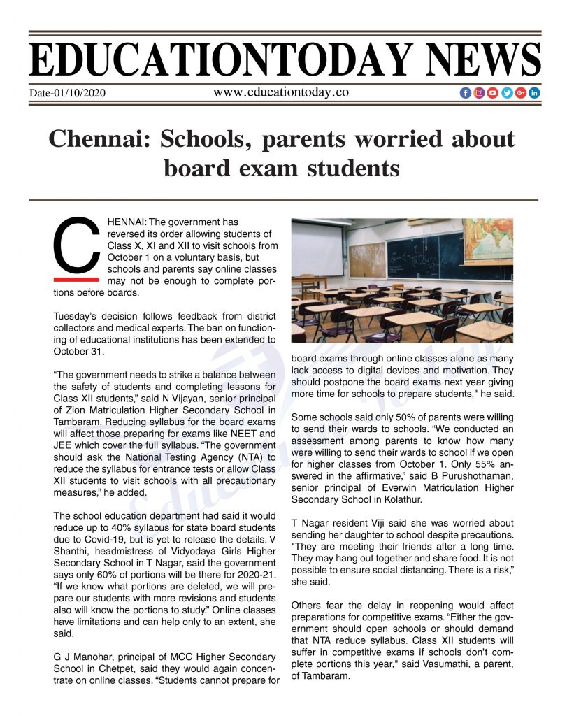 Chennai: Schools, parents worried about board exam students