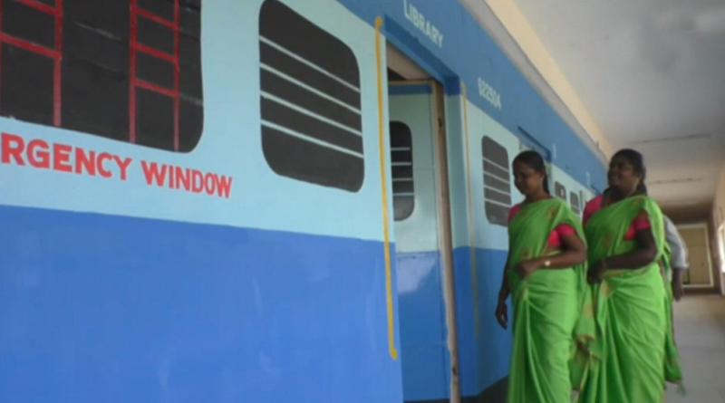 Govt school teachers paint veranda as train compartments