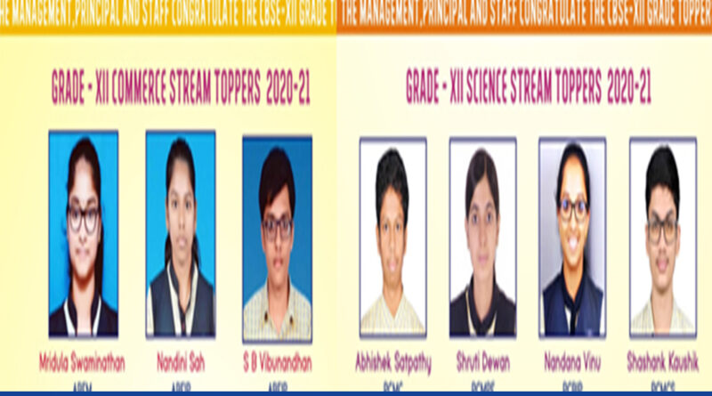 The students of Sri Sri Ravishankar Vidya Mandir have performed remarkably during the Class 12 CBSE exams. The Commerce stream toppers of the school are Mridula Swaminathan who scored 95.6%, Nandini Shah who scored 95% and SB Vibunandhan who scored 92.4%. The Science stream toppers are Abhishek Satpathy with 97.4%, Shruti Dewan with 97%, Nandana Vinu with 96.6% and Shashank Kaushik with 96.6%.
